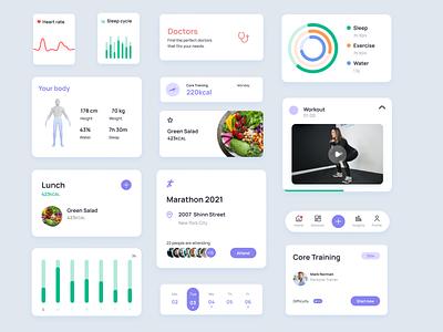 Health UI Kit - Components help charts status stats healthcare health medical live design system ui ui kit