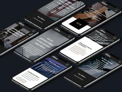 Alter Ventures - Mobile Look & Feel  ✍️ partners black classic finance venture capital venture typography experience ux ui branding design