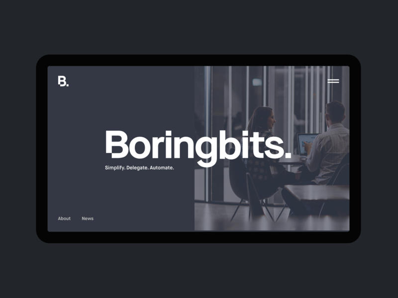 Boringbits Minimal Website Concept minimal clean startup branding interaction black landingpage landing website web video startups startup ux ui typography motion promo concept grid spacegrey