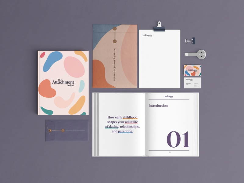 Stationary work for Attachment Project healthcare healthy health therapist therapy identity design branding design print minimal clean illustraion color experience brand type design branding