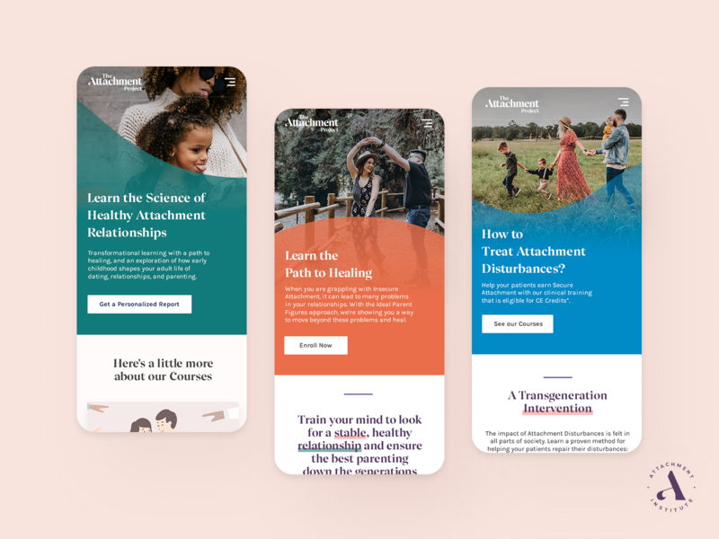 Attachment Project Mobile Screens 📱 landing page header clean ios modern premium course project attachment mindfulness illustration therapy health ux ui app launch onboarding splash walkthrough