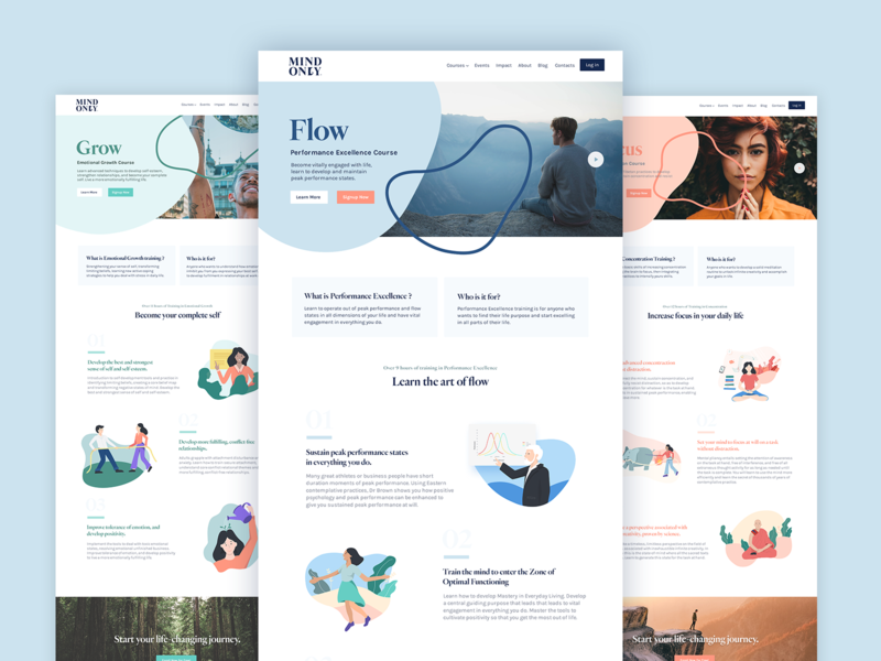 MO Courses Landing Page mindful mind flow line art shapes illustration course app learning platform learning courses web typography experience color ux type brand branding design ui