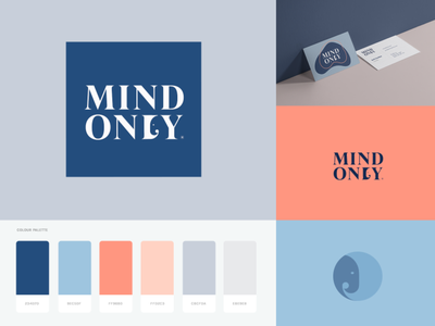Mind Only Branding Splash 🐘 app heldane mind branding branding and identity identity branding logo design branding splash colors custom lettering custom type identity mark mockup pallet typography illustration vector elephant logo elephant