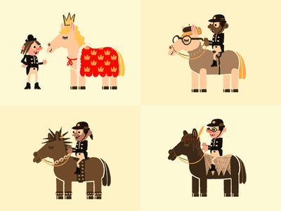 Horse Personalities horse horses royal intellectual punk hippie riders animation vintage retro childrens