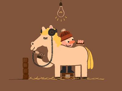 Walkstallion stable horse hay grooming listen music walkman white rider