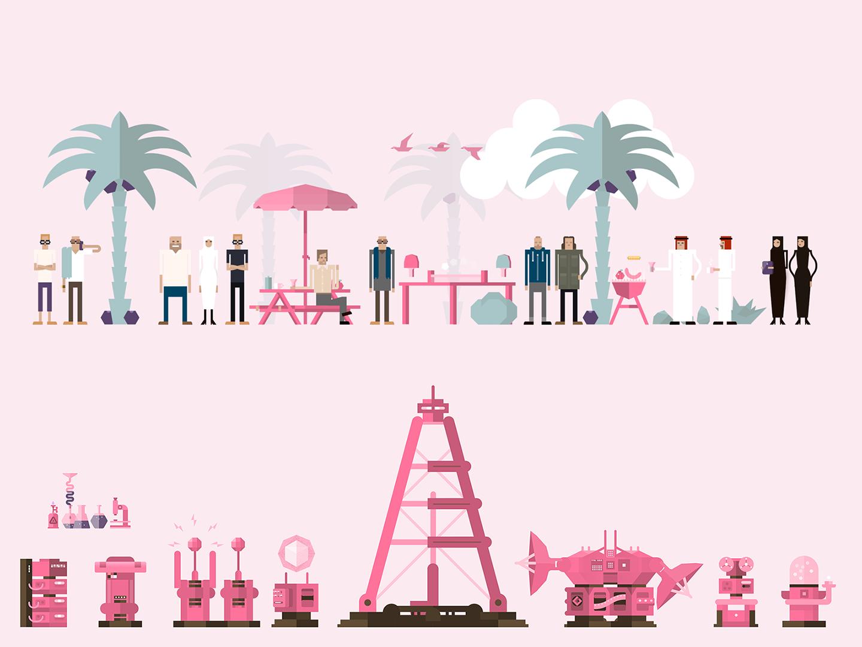 Vector Animation Assets explainer niqab hijab flat  design desert beach laboratory friendly fun technology machinery arabic character design illustration illustrator vector 2d animation animation assets