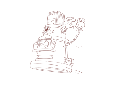 Hygloo - The friendly robot tophat dalek r2d2 cintiq sketch industrial design drawing cartoon hands boombox funk disco character design character creation illustration illustrator robot