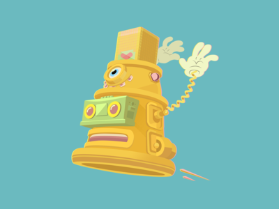 Hygloo - The friendly robot - Vector Illustration r2d2 character concept character design funny happy industrial design real robot robot disco funk hip hop art direction illustration dalek cartoon hands cartoon character boombox