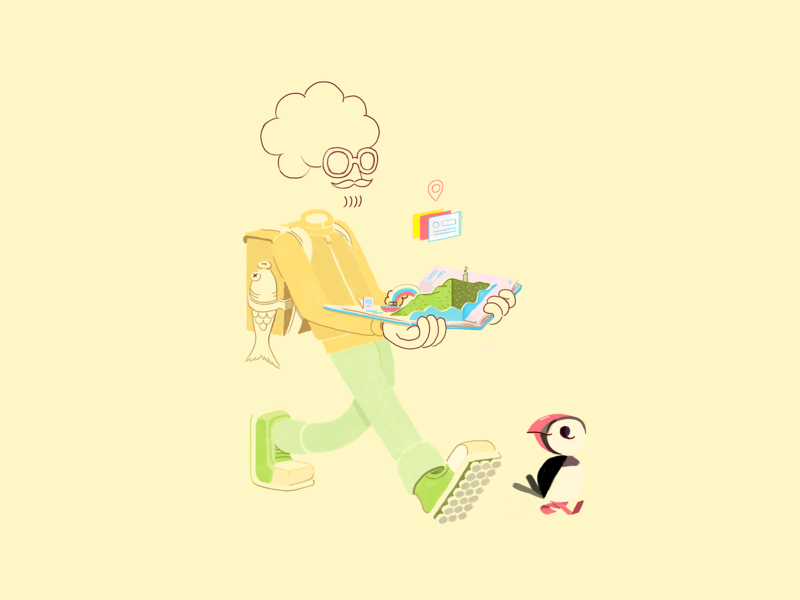 Faroe Islands walk step groovy groove truck on down database catalog pop up book social science youth education rights nordic democracy illustrator character design character art puffin editorial illustration
