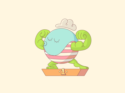 Delbar - Environmental Champion earth day climate global freelance illustrator win start up sharing award gamification environment suistanable muscles flex strong planet earth closed loop character design character cartoon