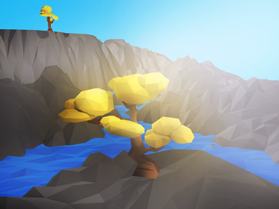 Lowpoly Tree Matte Painting