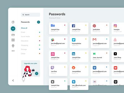 Password Manageer Dashboard Concept 1 website design dashboard website ux ui