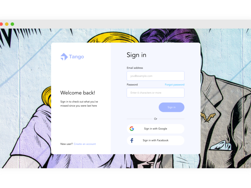 Sign in page Concept