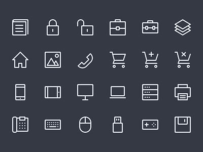 Line Icons WIP (Batch #4) 64x64 32x32 creativemarket set icons icon line lines
