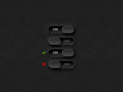 ON/OFF Toggle Switches GUI (PSD) cms cross gui ipad iphone layered off on photoshop psd switch tick toggle ui vector