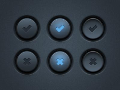 UI Buttons (PSD) gui ux art button buttons cross design detail interface light noise photoshop psd tick ui user vector freebie resource free