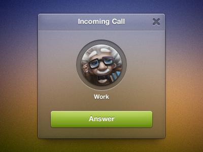 Incoming call widget