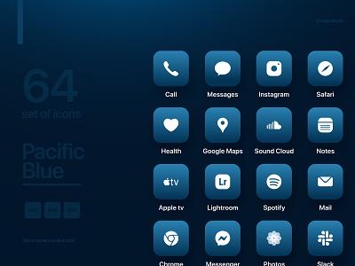 iOS 14 app icon set detail ios design ios app minimal graphic branding apple iphone 12 pro pacific blue ios2020 minimalist ui design