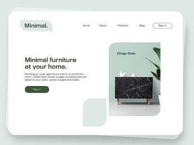 Minimal. Furniture store landing page simple website web page furniture webpage fashion landing page app ux design graphic design ui minimalist minimal graphic branding