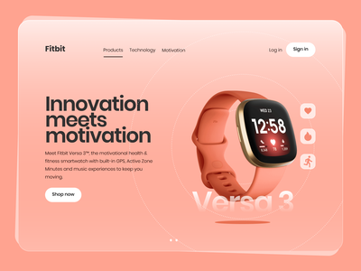 Fitbit Landing page redesign concept typography vector flat app ux ui design fashion graphic design web page web. design web concept ui fitbit landing page graphic design ui branding minimalist minimal
