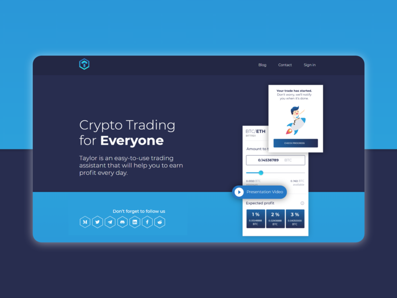 Landing page for a crypto trading website web minimal flat design crypto