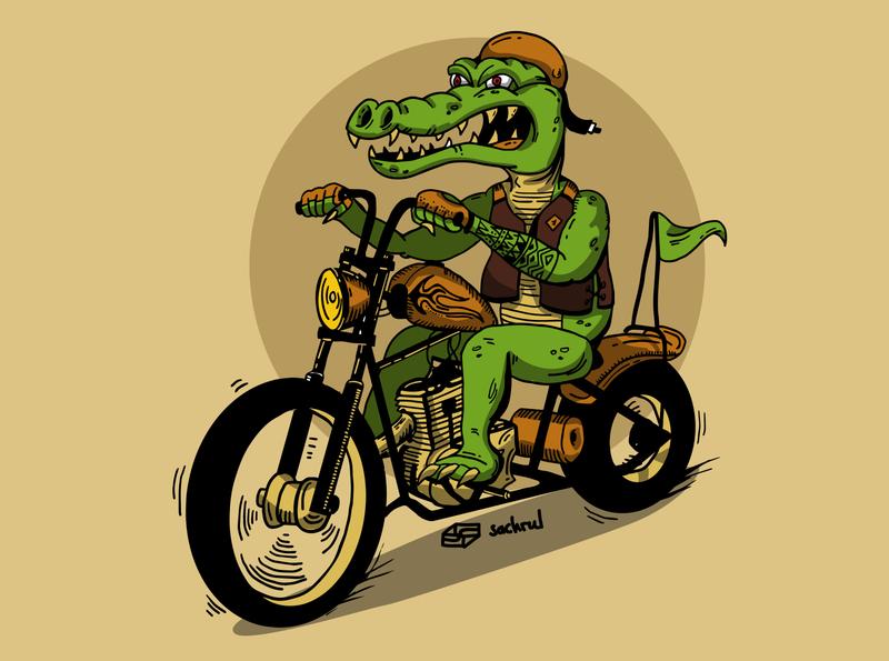 Crocodile on Motorcycle Illustration