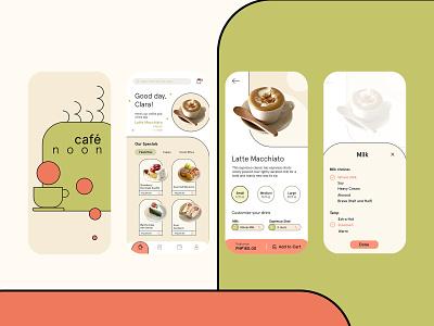 Café Noon - Cafe App Concept modern cafe branding cafe minimal mobile app mobile ui branding app ux ui