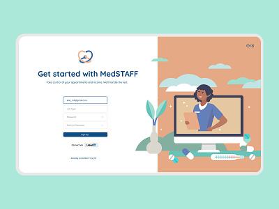 MedSTAFF Platform - Log In illustration branding modern doctor app medicine webdesign uiux