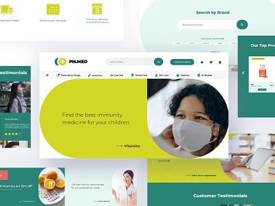 PHMED Online Pharmacy Concept modern app healthcare medicine pharmacy ui ux design website design