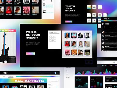 Museroom - Music Community Platform graphic design branding uiux website design website modern gradient artist musician music app music
