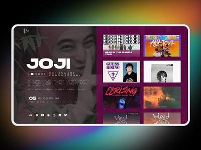 Museroom - Featured work page spotify uiux modern gradient joji music app music player promoter artist music