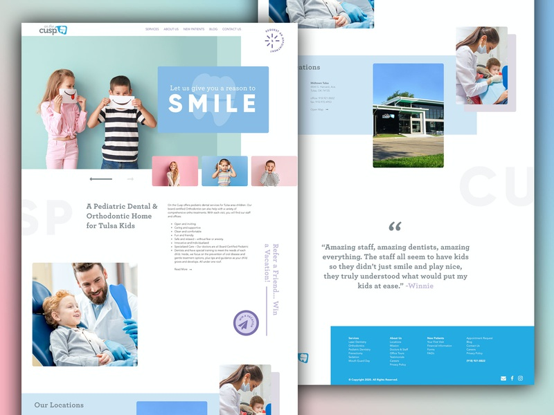 On The Cusp Pediatric Dentistry website design webdesign web