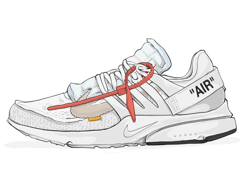 Nike Off-White Presto Illustration adobe draw ipad pro sneaker art