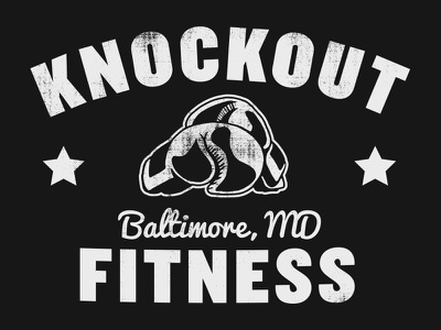 Knockout Fitness gym workout fitness stars white black tshirt vintage shirt gloves mma boxing