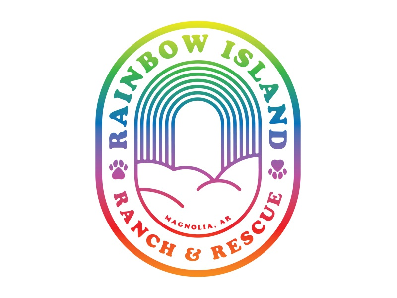 Rainbow Island Ranch & Rescue v1 logo roundel badge paws cloud island rainbow