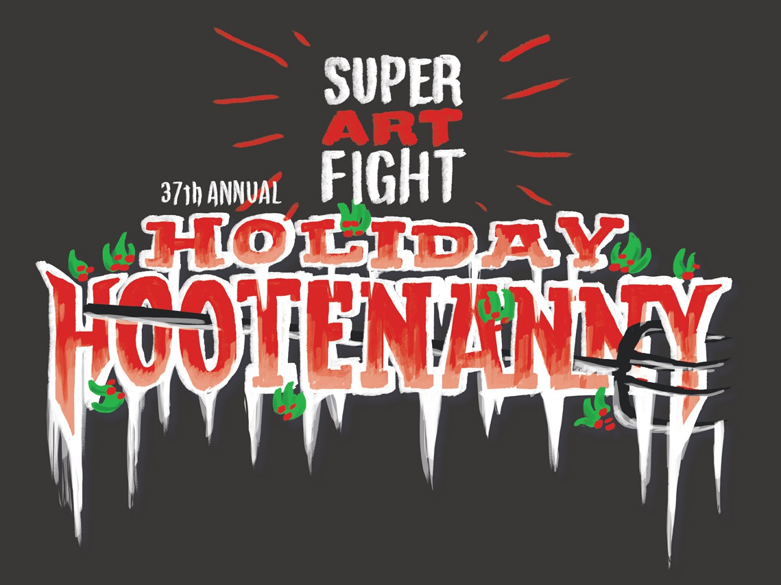 Super Art Fight 37th Annual Holiday Hootenanny icicles wordmark logo competition holly christmas holiday pitchfork super art fight