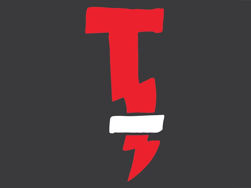 TT logo icon crossbar white red t lightning