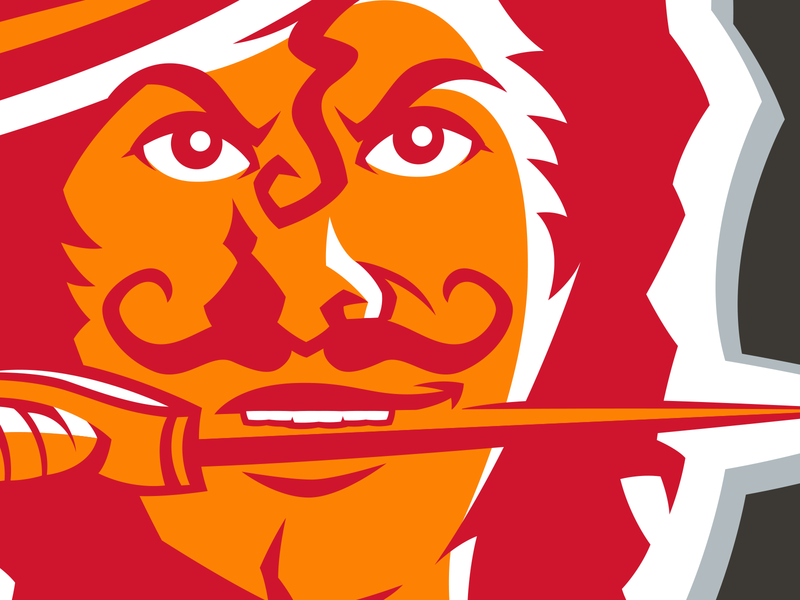 Bucco Bruce bruce bucco red orange redesign logo icon sports football nfl buccaneers bucs tampa