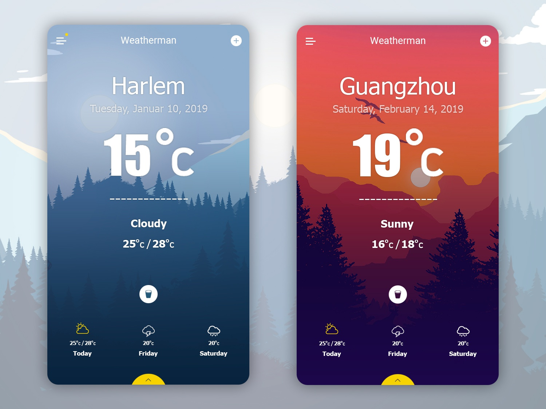 Weather App / Weatherman / UX / UI by Erik Shaldzhyan on