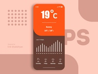Weather app UI/UX with material design colors