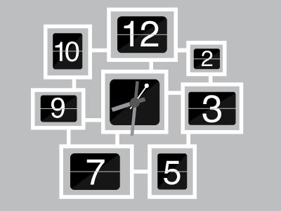 Spatial Cell wall-clock concept flip clock retro