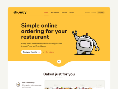 eHungry Website interface hungry platform restaurant delivery menu online ordering food web website