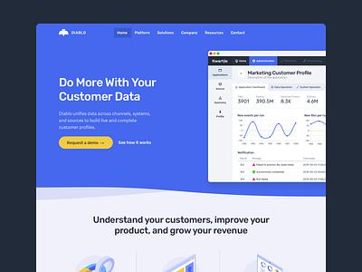 Diablo website big webflow enterprise ai data landing calendar dashboard interface