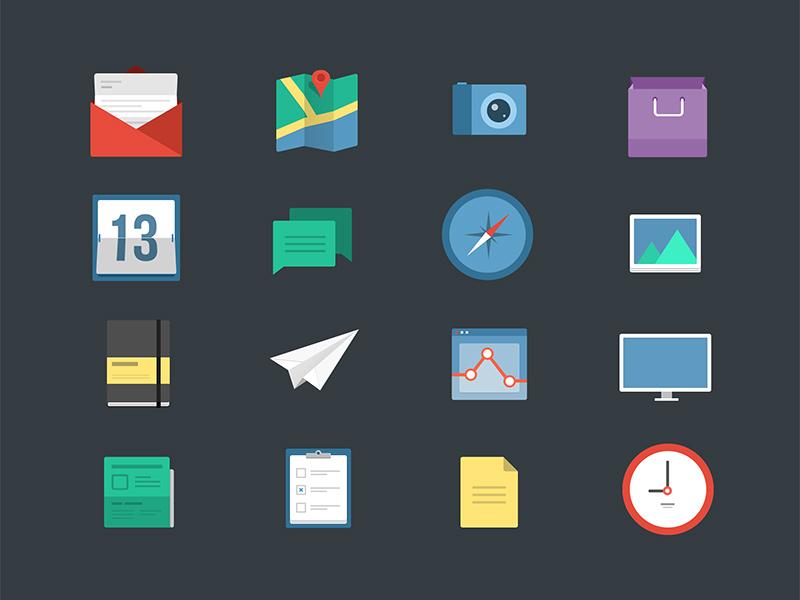 16 Flat Icons icons iconset flat freebie envelope map camera compass moleskine plane calendar