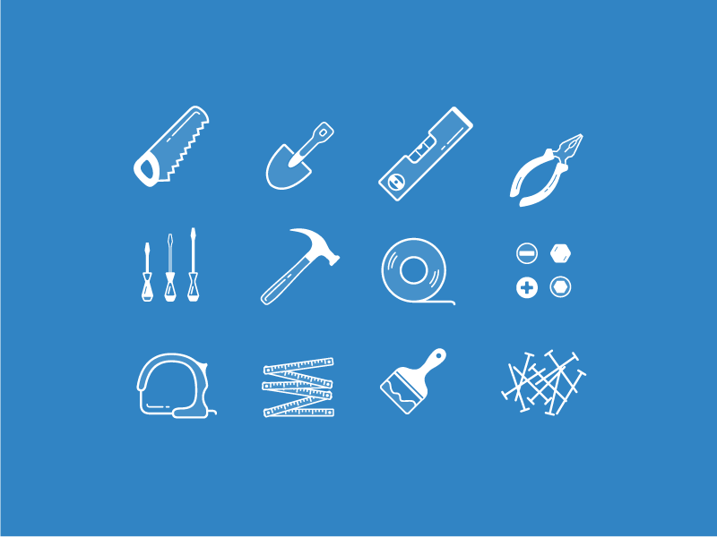 Tools Icons icons freebie pliers driver brush level shovel measure vector tool outlined carpentry