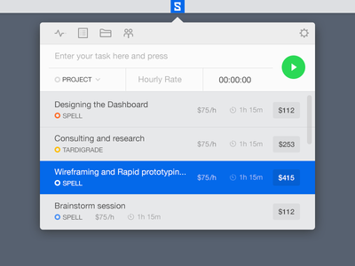 Timer app popover menu menubar osx mac ui interface tracker timer