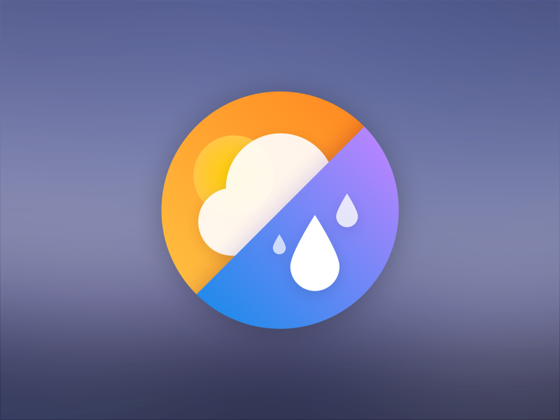 App Icon water drops circle cloud sun rain weather ui sketch dock icon app