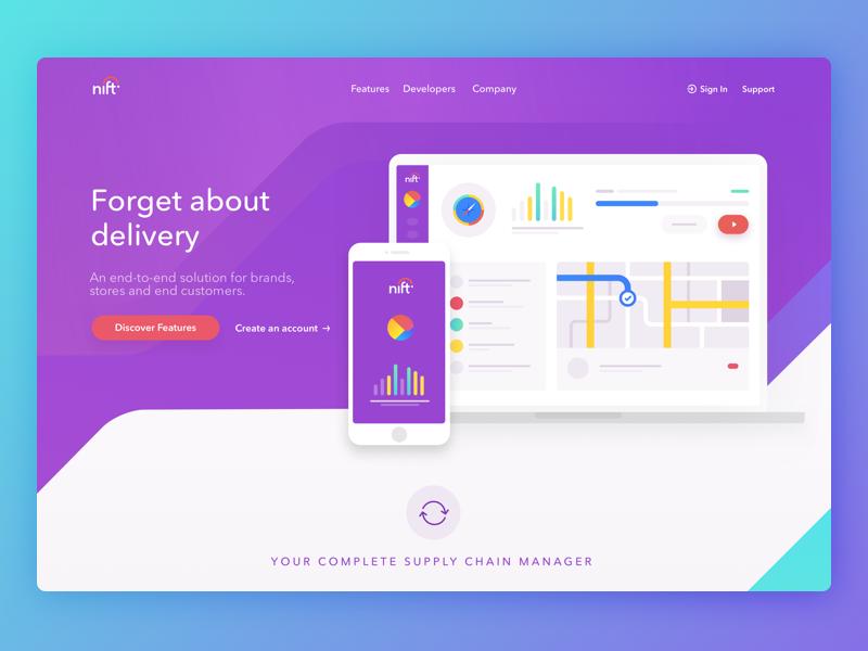 Nift Homepage app delivery avenir modern web design website dashboard logistics