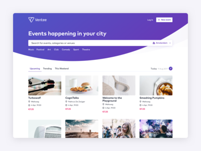 Ventee - an events platform dashboard app live concert music amsterdam catalog venue events