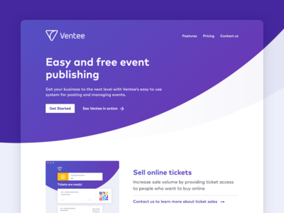 Ventee Marketing web marketing icons website event conversions landing page pricing usp walkthrough